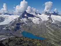 I feel small when hiking in the dramatic scenery in Jotunheimen Norway