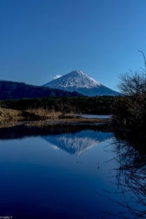 I feel that looking at Mt Fuji in photographs is like the reflection in the water In person it leaves you with a stronger presence Mt Fuji seen at Lake Shouji