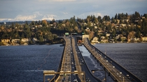 I- Floating Bridge Between Seattle and Mercer Island WA X-post from rSeattle