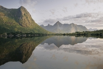 I found a mirror lake while driving through Lofoten in Norway