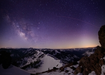 I got a ride with a groomer to the top of Ward Peak above Alpine Meadows north of Lake Tahoe CA last night Nothing but awesome Milky Way and moonlit peaks This shot is looking South-West towards Desolation Wilderness