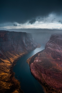 I got caught in a dramatic rainstorm at Horseshoe Bend Arizona USA  by hansiphoto