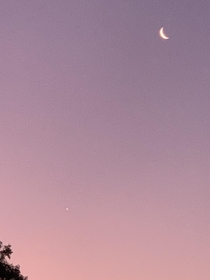 I got this shot of the Moon and Venus last night with my phone Was surprised at how bright it was