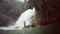 I got to spend my morning standing under this waterfall at Ross Lake WA