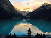 I had a treacherous walk from my king size bed to my hotel window to take this shot Lake Louise Alberta Canada