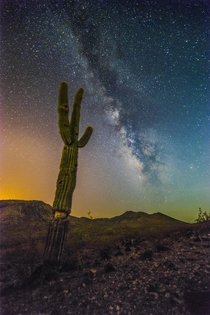 I had already posted this and a lot of you liked it However since I didnt state in the title that the picture of this Saguaro Cactus and Milky-way was in The Arizona desert it was removed So once again heres my light-pollution ridden starscape