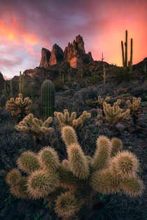 I hate writing titles I love taking photos An insane sunset over Three Sisters Peak in the Superstition Mountains Arizona OC  rosssvhphoto