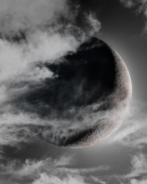 I have used several astrophotography techniques to make this dramatic waxing crescent Moon composite picture