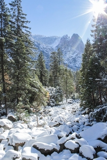 I hiked in just after the first snow of the year in Yosemite National Park