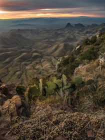 I hiked three hours in the dark through bearcougar country to be at this spot for sunrise Big Bend National Park overlooking the US-Mexico border