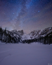 I hiked to Dream Lake in Colorado the night after a big snowstorm to capture the Milky Way
