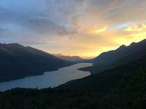 I hiked up to see this sunset over Eklutna Lake Alaska  pm