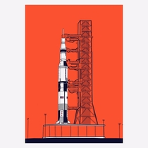 I illustrated Saturn V in honor of the man going back again to space from American soil tomorrow