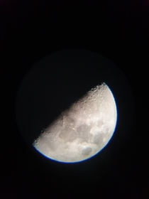 I know its not great compared to some of the other stuff on here but Im pretty proud of this photo I took of the moon with my new telescope Im very inexperienced with telescopes and astronomy so any tips would be greatly appreciated