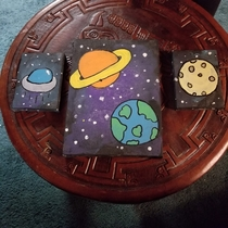I know its not the norm around here My  year old son wants a space themed room His  year old sister painted him these