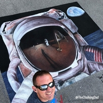 I made this chalk art tribute to the Apollo  landing at a festival in Lockport NY