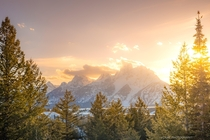 I managed to catch the sunset last night in Grand Teton National Park Stood in the same place Ansel Adams took his iconic pic of the Tetons about  meters from where this shot was taken Truly a wonderful moment