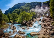 I never knew that southern Switzerland was filled with so many giant waterfalls Foroglio Valle Maggia Ticino