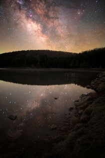 I photographed the Milky Way in front of a perfectly calm lake that reflected thousands of stars