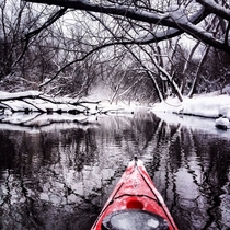 I posted a winter kayak pic here awhile ago and you guys loved it So heres another Taken in January on the Des Plaines River in Illinois