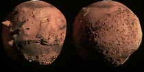 I rendered Mars with its features exaggerated x