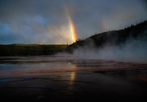 I saw this incredible rainbow form just before sunset on a stormy night in Yellowstone National Park