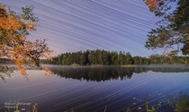 I shot my very first timelapse of the night sky last night I decided to put all  good frames together as my first startrail hope you guys enjoy Shot in the Kolmrden Forest Norrkping Sweden