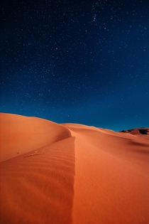 I spent four days camping out in the remote Algerian Sahara - just me and a local guide I took a million photos but this was one of my favourites Freezing cold at night but free of all light pollution the sky was breathtakingly beautiful  IG xereeto