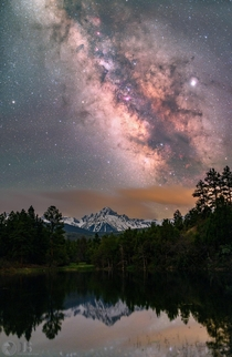 I stacked  images of the Milky Way rising over Mt Sneffels in Colorado to reduce noise and bring out more detail in our Galaxy