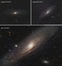 I started doing astrophotography last summer Heres the progress Ive made so far on The Andromeda Galaxy