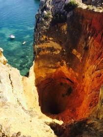 I stumbled upon this beautiful abyss while hiking near Lagos Portugal