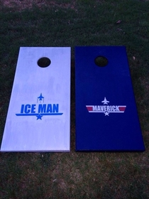 I think I picked the right rivalry for my new cornhole boards