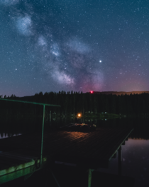 I took a picture of my friend taking pictures of the milky way at a lake
