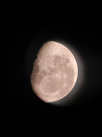 I took a picture of the moon using my phone Picture taken through telescope without any camera stands or extensios Just placed my phones camera where you put your eye and wished for the best outcome