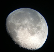 I took a picture of the Moon with my dads telescope  days ago I am very proud of how it turned out