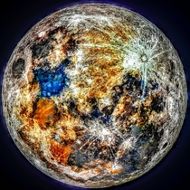 I took the color data from k images of the moon and you can see where impacts paint the moon with fresh color