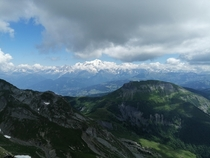 I took this photo of the Mont Blanc on a hike in Le Grand Bornand somewhere in august