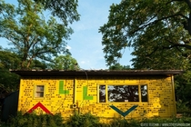 I translated the morse code painted across this brightly-colored abandoned house