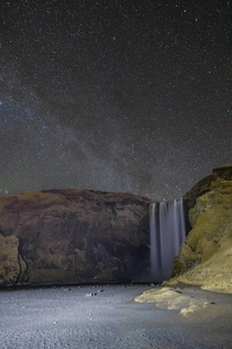 I was hoping to see the northern lights on this crystal clear night in Iceland but didnt have any luck To be honest though it was hard to be too disappointed with a view like this Skogafoss Iceland