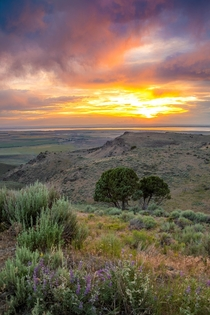 I was lucky to catch a gorgeous sunset over the Snake River Plain in Idaho