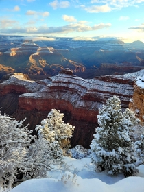 I was lucky to see the morning sun on the snow covered Grand Canyon after severe winter storms Arizona