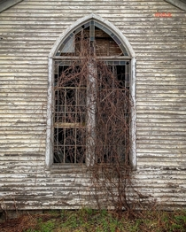 I was passing through Broome New York this afternoon after coming back from Cooperstown and found an old church for sale with overgrown vines through its once stained glass windows