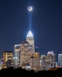I was told I should post this here Crescent moon over Charlotte NC I took it last Sunday