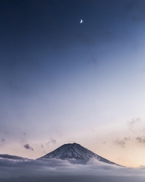 I went to see Mt Fuji twice during my trip to Japan only to find it completely covered in clouds This was taken during a short break in the upper clouds just around blue hour