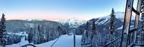 I worked lifts for a winter season in Banff AB Canada My view from the office every morning at Sunshine Village