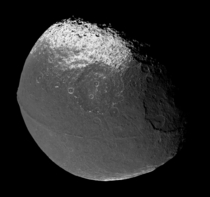 Iapetus with Its Distinctive Equatorial Ridge Captured by Cassini