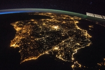 Iberian Peninsula at night as seen from the ISS