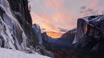 Ice and Fire in Reverse Tunnel Viewpoint in Yosemite Park California by Jay Huang