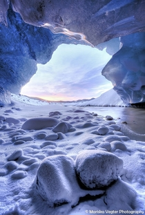 Ice cave sunset Iceland  Photo by Mariska Vegter xpost from rIsland