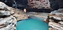 Ice cold blue waters deep in the gorges Karijini national park Western Australia